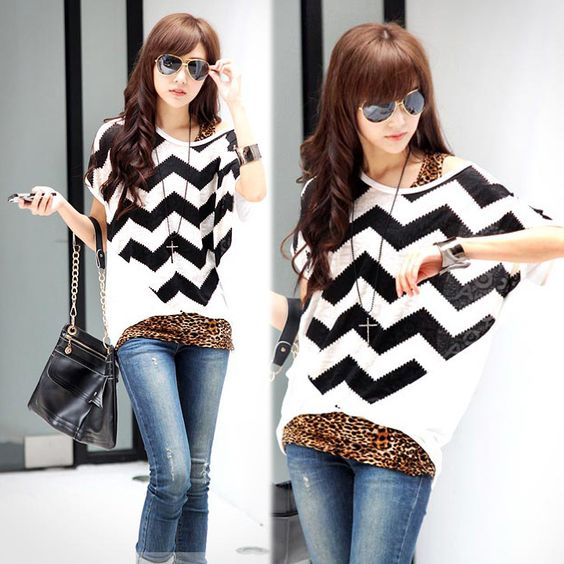 Batwing Sleeve Stripes Loose Top