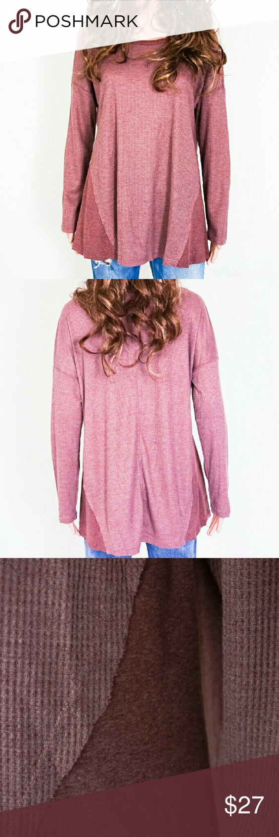Wine Colored Knit Top Available in Size S, M, L. Fabric content: 65% polyester, 35% rayon. Same day shipping. 20% bundle discount for 3 items. Tops