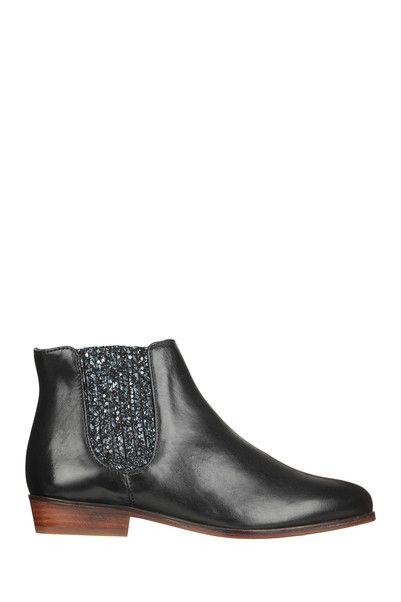 Boots cuir noires paillettes La Féérique Bobbies sur MonShowroom.com