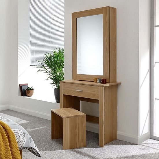 Clavier Wooden Dressing Table Set In, Mirrored Dressing Table Set Oak