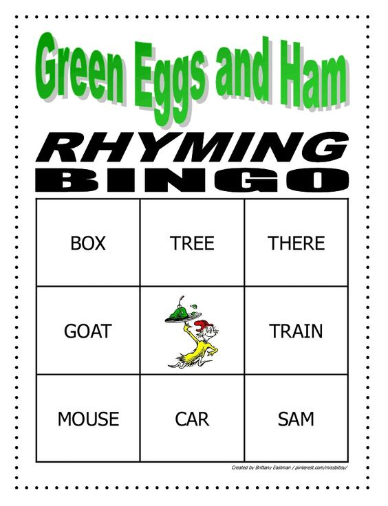 Green Eggs and Ham Rhyming Bingo. Kids cover the word that rhymes with the word called. This was very popular. I also gave out prizes, and we played till everyone got Bingo.