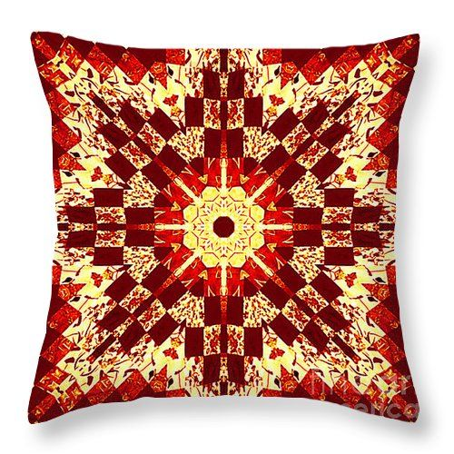 Red And White Patchwork Art Throw Pillow by Barbara Griffin