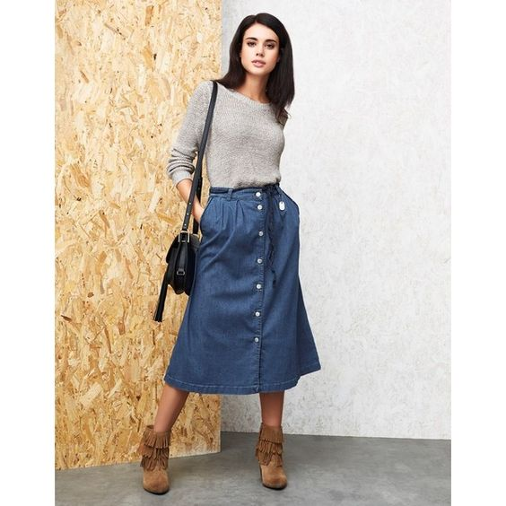 Only Denim Midi Skirt ($39) ❤ liked on Polyvore featuring skirts ...