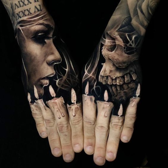 284 Tatuajes De Calaveras Skull Fotos Hombre Mujer Tatuajes En La Mano Tatuaje De Vela Tatuajes Realistas