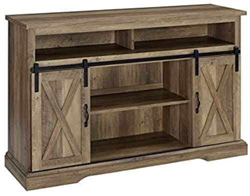 New Pemberly Row Farmhouse Sliding Door Wood 52 Highboy Tv Stand Console Buffet Credenza Storage Cabinet Rustic Oak Barnwood Online In 2020 Highboy Tv Stand Barn Door Tv Stand Tv Stand Console