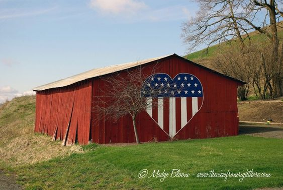 Patriotic Heart On A Red Barn In The Palouse Region Of