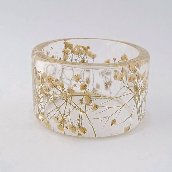 Baby's Breath Resin Bangle, SpottedDogAsheville on Etsy