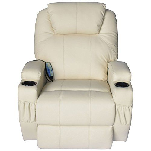 Homcom Faux Leather Heated Vibrating Recliner Chair With Remote Cream White With Images White Leather Sofas Recliner Chair Leather Sofa