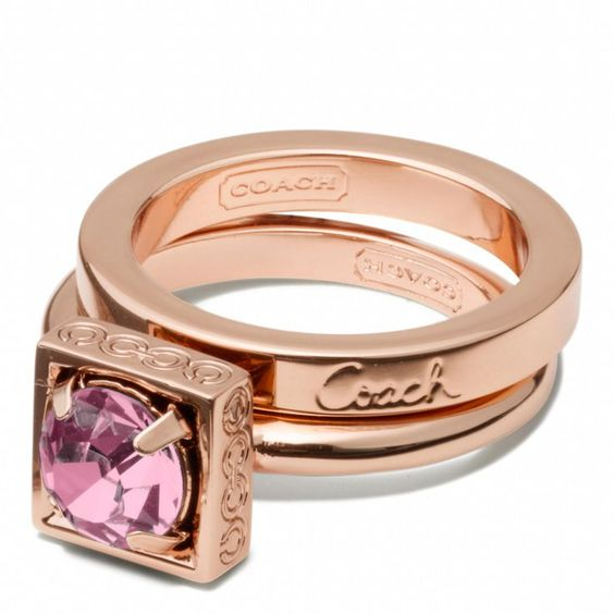 Coach Pink Stone Gold Stacking Ring