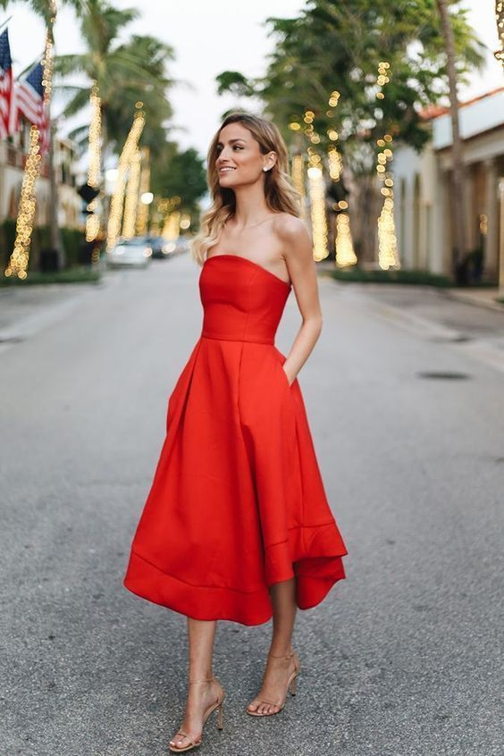 Red Strapless Dress Outfit Ideas For Summer Kadininmodasi Org In 2020 Tea Length Homecoming Dresses Red Dress Short Homecoming Dresses