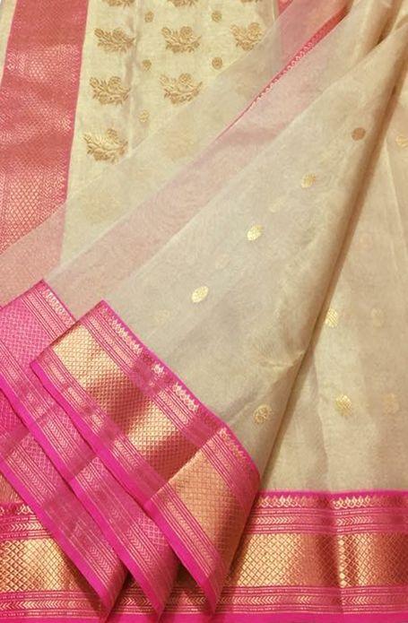 Off White Handloom Chanderi Tissue Silk Saree   Silk sarees with price, Chanderi silk saree, Kota silk saree