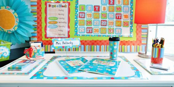 Cute Teacher's Desk!  Create your own using Dots on Turquoise Designer Decor from CTP