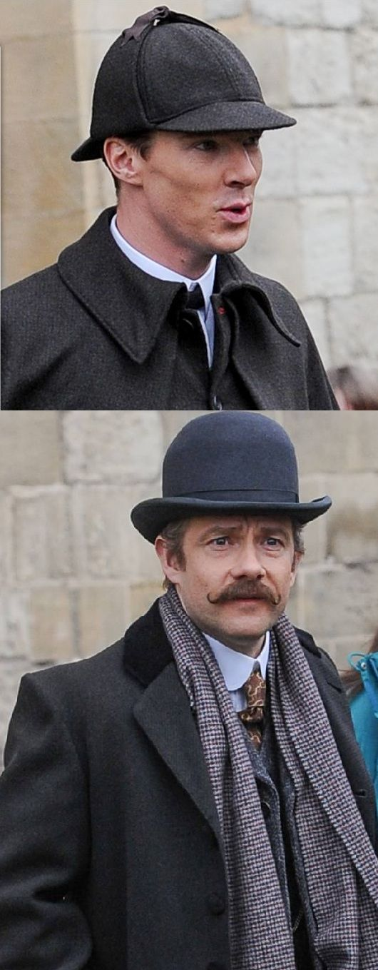 Benedict Cumberbatch and Martin Freeman were very much in character as they shot scenes for the forthcoming special episode at Gloucester Cathedral.