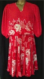 1980's Vintage Diane Freis Original Dress Red White #eBay