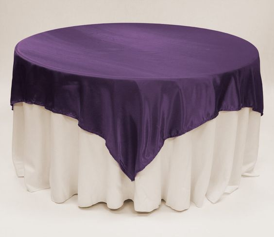 Dark Purple Satin Table Overlay 90 Square Discount Wedding Linens