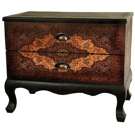 $219  With the perfect size for an end table, nightstand, or accent chest, this attractive two-drawer cabinet features textured faux leather. This cabinet is handcrafted by artisans in China.:
