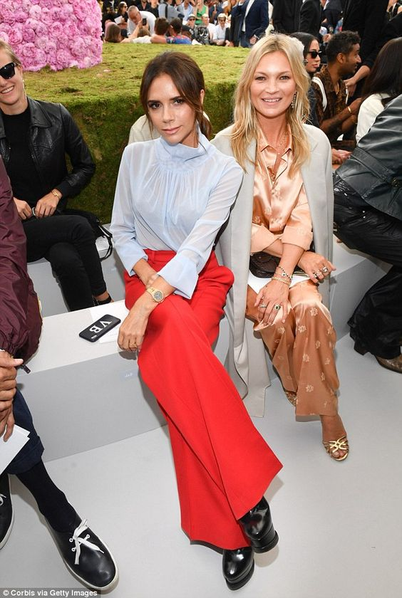 Victoria Beckham sits front row with son Brooklyn, Kate Moss and Naomi Campbell at Dior in Paris | Daily Mail Online