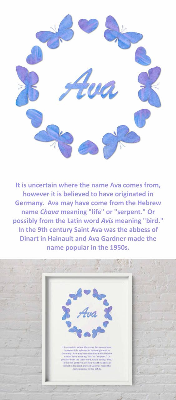 Printable Ava Name Art With Meaning Purple And Blue Butterflies With Hearts Wreath Art With Meaning Name Wall Art Names With Meaning