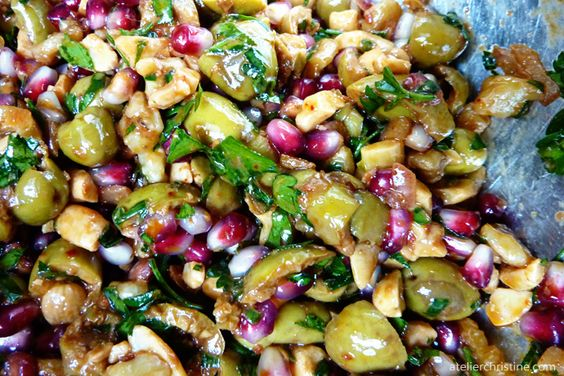 Herbed Green Olive, Pomegranate and Walnut Salad recipe #appetizer # ...