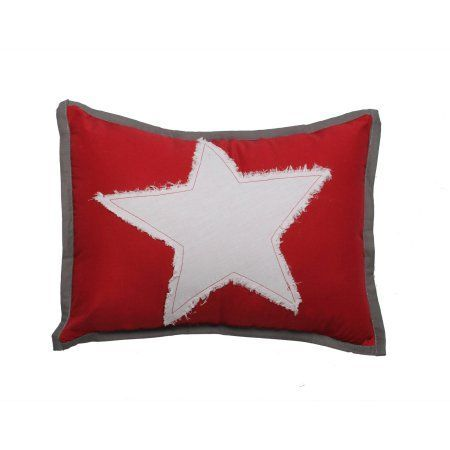 Bacati - Stars Muslin Dec Pillow 12 x 16 inches with removable 100% Cotton cover and polyfilled pillow insert, Red
