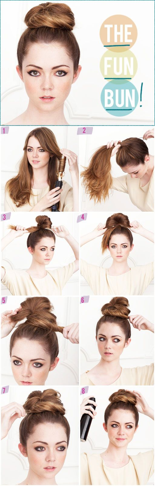 1. Use a 1″ curling iron to curl everything under. This will make it easier to tuck pieces into the bun  2. Flip your hair over and gather everything into a ponytail on top of you head, securing it with an elastic ponytail holder.    Step 3: On the last time around with the ponytail holder, only pull the ponytail through half way.  4. Take the loop you've created and spread it out. Just widen it and allow it to be somewhat messy.  5. Take the tail end and wrap it around the ponytail base.