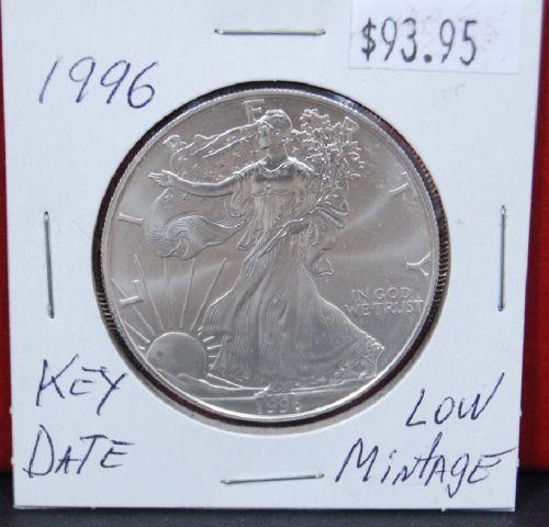 Bullion 1996 Key Date Silver American Eagle Bu 1 Oz Coin Us 1 Dollar Uncirculated Mint Bullion Silver Bullion Coins Key Dates