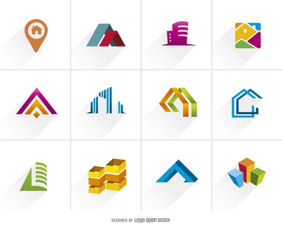 Inmobiliaria colorido Logo Set