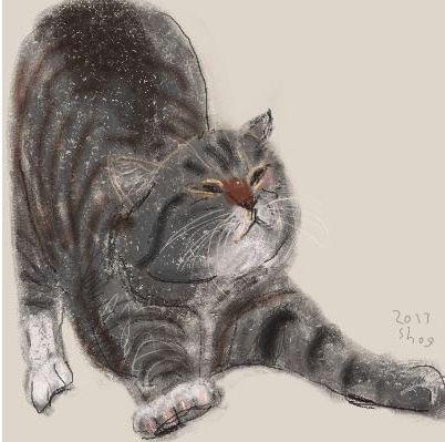 """I'll get back to enjoying KittyCommotion.com after a gooood stretch!""          Illustration by Shozo Ozaki.:"