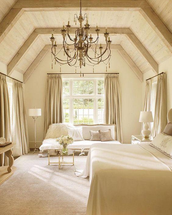 A Vaulted Oak Ceiling And Antique Chandelier Give This Bedroom Designed By Suzanne Kasler A