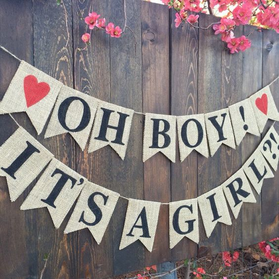 OH BOY IT'S A Girl, Baby Shower Banner Gender Reveal Banner Boy or ...