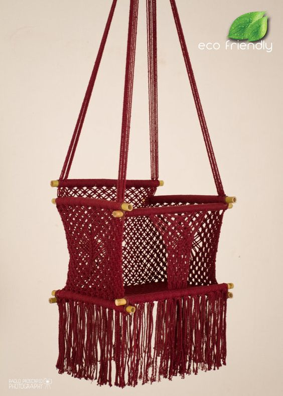 eco friendly macrame baby swing chair for infant to child