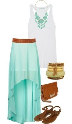 turquoise high-low maxi skirt, plain white tank or t-shirt with brown accessories
