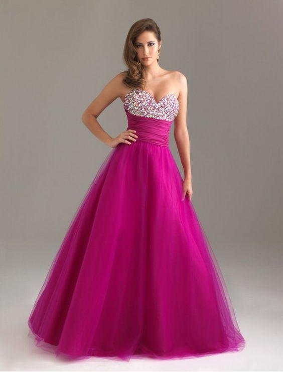 Tulle Strapless Beaded Bust Prom Dress