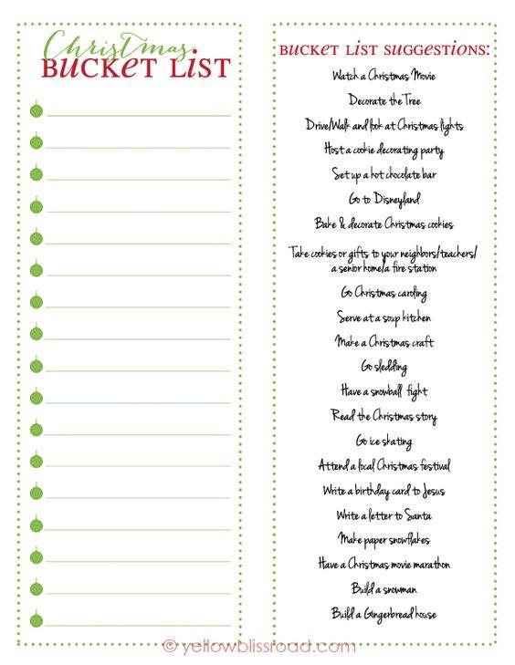 Christmas Bucket List Free Printable Free printable, Buckets and - christmas list maker free