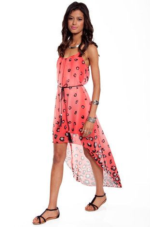 @Jenn Mayer - Mullet dress for youuuu...Lady Leopard Belted Dress in Coral $33 at www.tobi.com