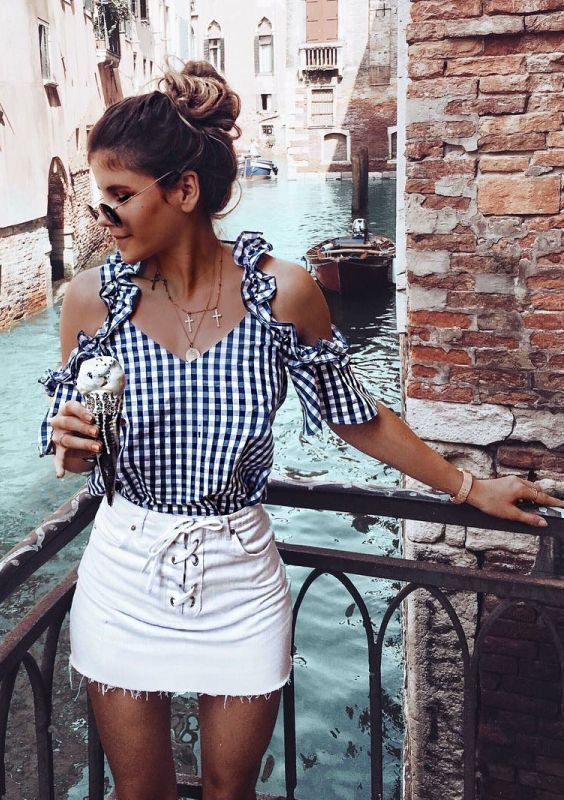 Cute gingham cold shoulder top with white denim mini skirt.
