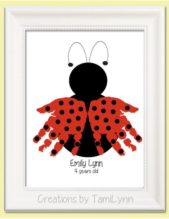 Ladybug Handprint Art - Personalized Baby Nursery, Child's Room, Girls' Room, Mother's Day, Grandparent Gift