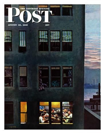 """Office Poker Party,"" Saturday Evening Post Cover, August 18, 1945 Giclee Print by John Falter at AllPosters.com"