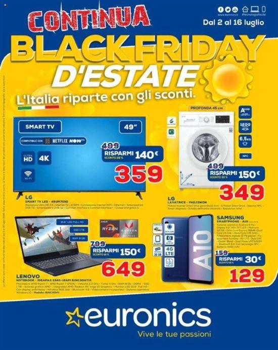 Volantino Euronics Continua Black Friday D Estate Dal 2 07 Al 16 07 2020 Euronics Volantino Offerte Nel 2020 Volantini Black Friday Macbook Pro