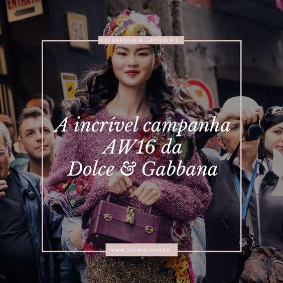 Vem ver a campanha AW16 da Dolce&Gabbana que arrasou com o meu coração. Uma boa dose de inspiração para encerrar bem a semana. <3  A incrível campanha AW16 da Dolce&Gabbana http://sirimiri.com.br/a-incrivel-campanha-aw16-da-dolcegabbana/