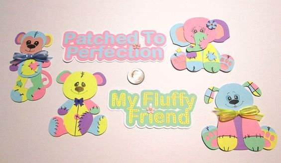 Baby Toys Paper Piecing Collection - Set of 4 Patched Toys plus 2 Titles
