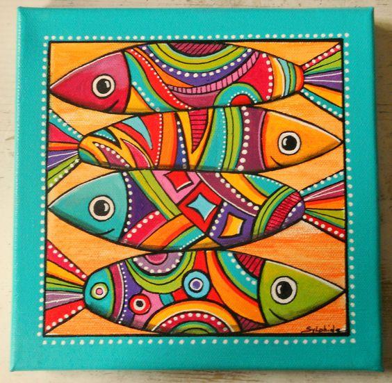 """""""Les sardines"""" , un tableau de poissons très colorés : Décorations murales par sylphide"""