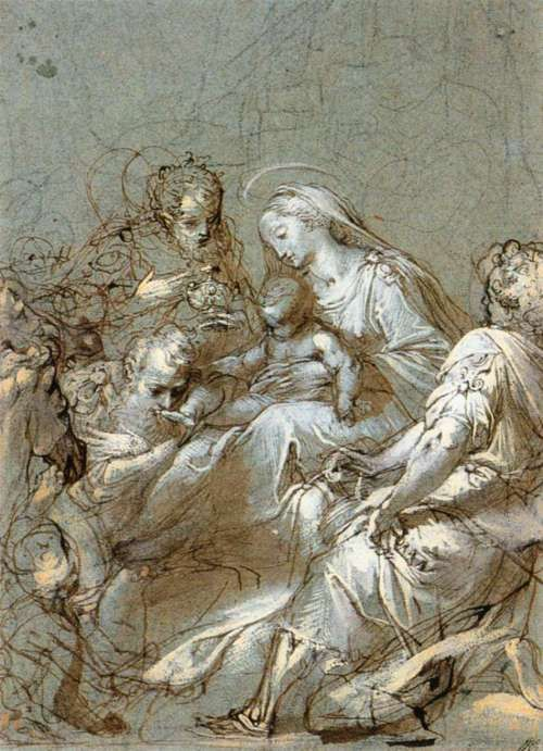 BAROCCI, Federico Fiori    Italian painter (b. 1526, Urbino, d. 1612, Urbino)    The Adoration of the Magi  1561-63  Black chalk, pen and brush on blue paper, 293 x 209 mm  Rijksmuseum, Amsterdam