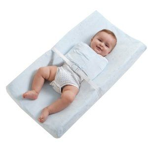 Changing pad with built in straight jacket to keep little hands