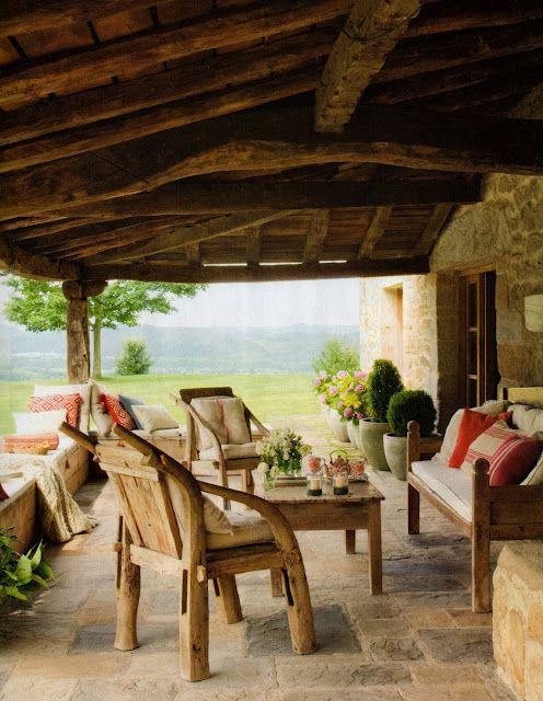 Nice cottage detalle de terraza casas de campo - Porches de casas de campo ...