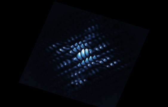 A scanning tunnelling microscope image showing the electron wave function of a qubit made from a phosphorus atom precisely positioned in silicon.
