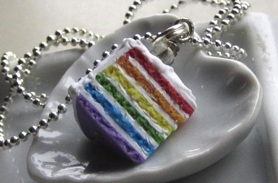 $16.50 A tasty-looking rainbow cake necklace.