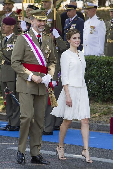 King Felipe of Spain and Queen Letizia of Spain attend the 2015 Armed Forces Day on June 6 2015 in Madrid Spain