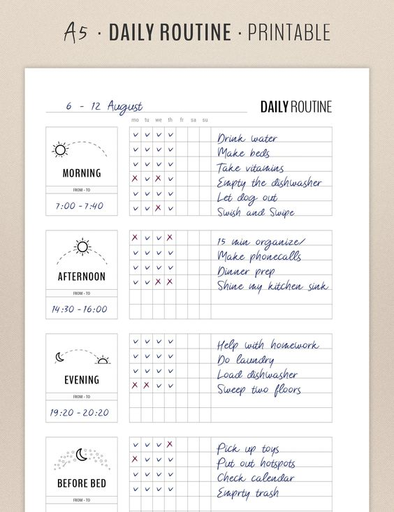 Checklist du jour