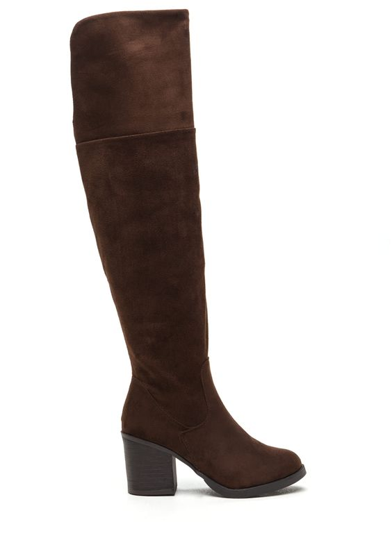 Notch Above Chunky Faux Suede Boots BROWN